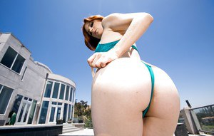 Outdoor posing session with slender redhead beauty Penny Pax