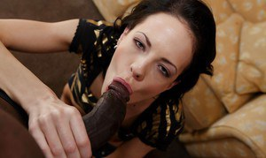 Slender black-haired Aliz is getting fucked by this big black dick