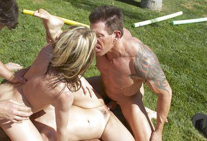 Stunning tattooed beauties are sharing big juicy dicks outdoors