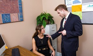 Office teen Marry Lynn is sucking this amazing dick at her workplace