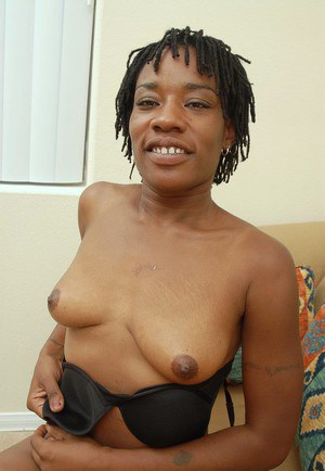 Mature ebony Cat demonstrates her hot-looking saggy boobies!