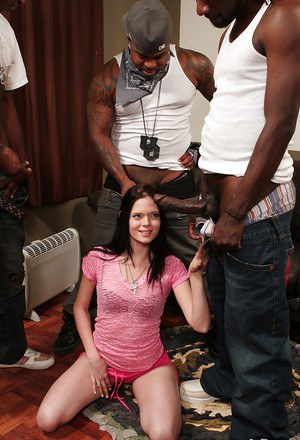 Sweet hardcore interracial gangbang with spicy babe Angelica Black