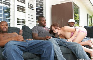 Interracial gangbang with slender redhead beauty like Kaci Starr