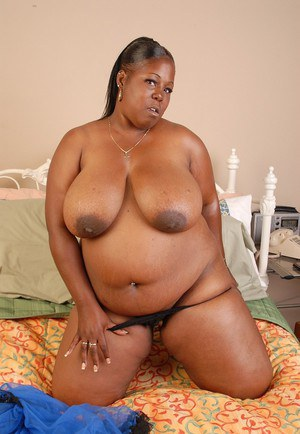 Fatty ebony Subrina shows off her amazing big black boobies!