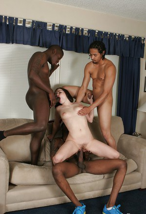 Insane black-dicked gangbang with slender white Tatiana Kush