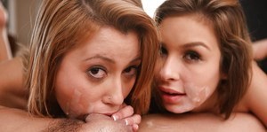 Two babes Carmen Caliente and Marina Angel and just one wiener