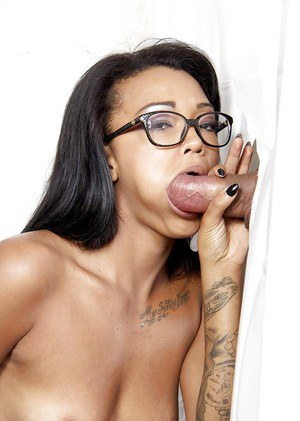 Tattooed ebony in glasses Harley Dean in a hot gloryhole scene
