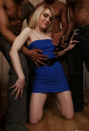 Interracial gangbang with dick-sucking bleached slut Spice R