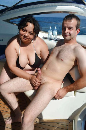 Hot fat granny Tinny Rados is sucking this big dick on the yacht