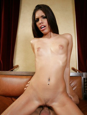 Skinny long-haired brunette Latina Rio Valentine and her hardcore bf