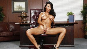 Awesome black-haired Lezley Zen shows off her stunning big boobies