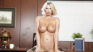 Sweet bleached Leigh Darby plays with her outstanding big boobies