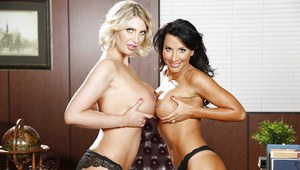 Lesbians with big tits Leigh Darby and Lezley Zen showing their asses