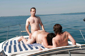 Amateur gangbang action on the yacht with hottest SSBBW-sized woman