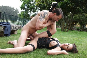 Outdoor anal banging with slender milf pornstar such as Henessy