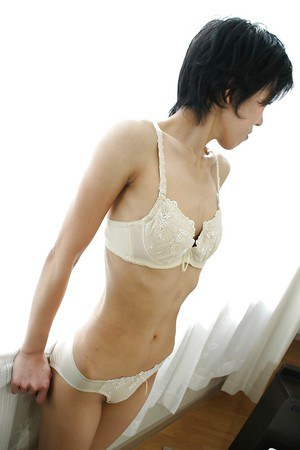 Skinny Asian milf Shinobu Funayama is undressing her lingerie