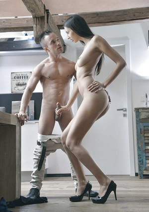 Sexy tall brunette Kitty Jane is undressing and banging with hardcore bf