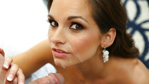 Beauty Ashley Sinclair is swallowing sperm in a hot voyeur scene