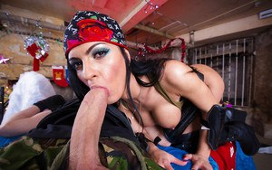 Dick-swallowing brunette Honey Demon is getting a really big cock