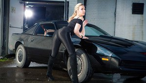 Blonde milf Sophia Knight is posing and undressing like a stripper