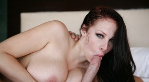 Stunning big-tit brunette Gianna is being fucked in her wide mouth
