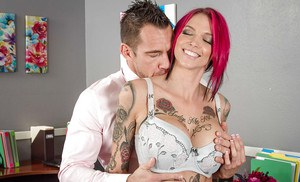 Hot readhead Anna Bell Peaks giving blowjob at the office and getting cum in mouth