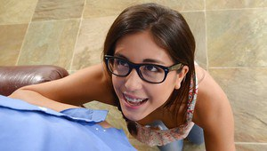 Shy teen in glasses Natalie Monroe does right thing to that long cock