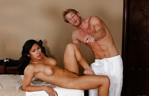 Tender masseur can't keep his dick off Lovely Asian woman Mia Li