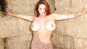 Humble ginger-head milf Monica Mendez rubs down her beautiful breasts