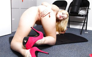 Office worker Charlyse Angel enjoys her naked body and pink pussy