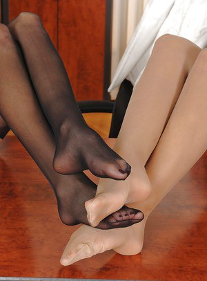 Lesbians Alison Star and Jasmine Black do some foot fetish today