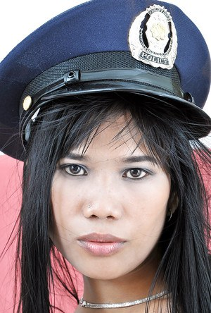 Latina babe Anne wears dirty police officer outfit and shows butt