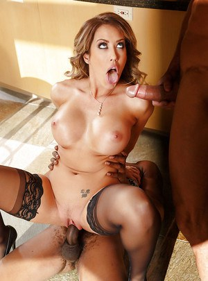 Famished milf Capri Cavanni gets two big cocks in her pretty face