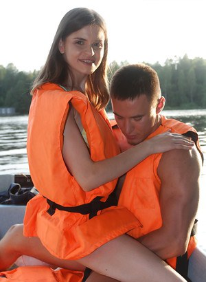 Two guys take nice girl Anna Taylor on boat and fuck her there