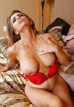 European milf in red lingerie Mia Ryder is busted by thick poker