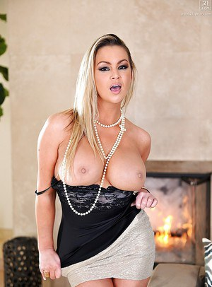 Big tits Abbey Brooks on high heels, is spreading and showing her ass
