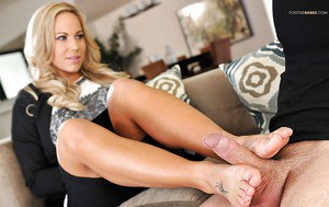 Foot fetish sex with Olivia Austin giving a blowjob and a footjob