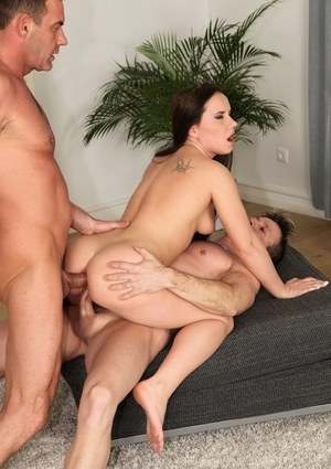 Euro chick Wendy Moon does anal while banging 2 guys at the same time