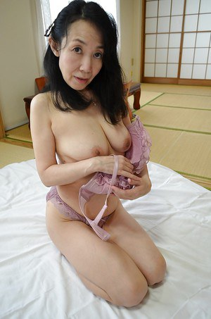 Ugly Asian mature lady Tsuyako Miyataka and her very hairy pussy