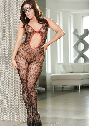 Top rated babe Cracie Glam posing in a sexy body stocking and mask