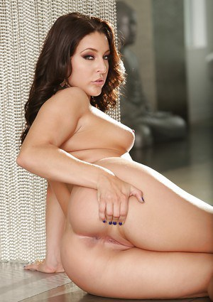 Hot babe Gracie Glam shows off her pussy via crotchless pantyhose