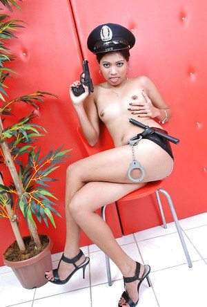 Slutty Jenny dresses up as a cop while showing off her naughty side