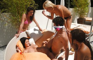 Hot lesbian fun turns into an outdoor reverse gangbang for Loni Evans