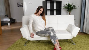 European babe Cathy Heaven posing in high heels and denim jeans