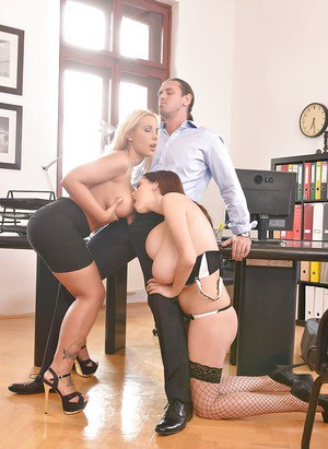 Busty duo Lucie Wilde and Kyra Hot have a threesome with a hung man