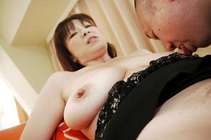 The hairy Asian pussy of Masae Hamae pleased by an old school toy