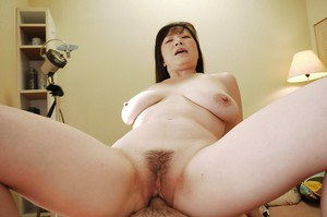 Close of Masae Hamae's hairy pussy during Asian hardcore sex