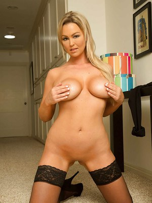 Blonde Milf babe Abbey Brooks fully clothed and stripping naked