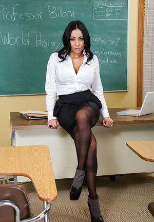 Shaved Milf teacher babe Audrey Bitoni posing in black stockings