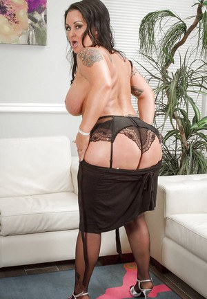 Shaved Milf mom Maci Maguire baring round juicy butt and tattoos